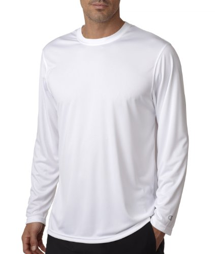UPC 011919754120, Champion CW26 Adult Double Dry Long-Sleeve Interlock T-Shirt - White44; Large