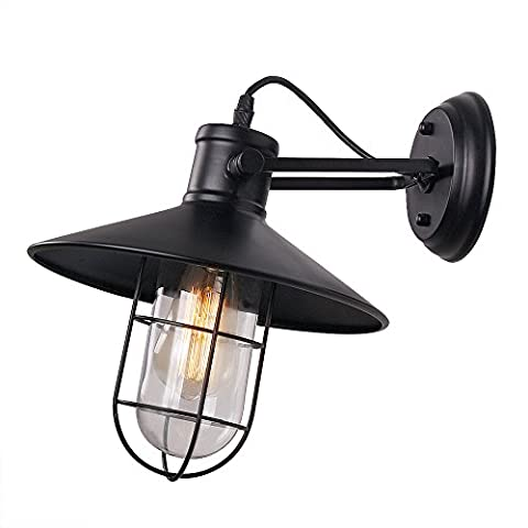 Anmytek Wall Light Fixture, Industrial Retro Rustic Loft Antique Wall Lamp Edison Vintage Pipe Wall Sconce Decorative Fixtures Lighting Luminaire with Glass Cover (Bulbs not included) (Glass Cover)