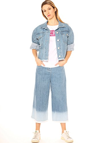 Key Palazzo di Jeans Cropped Donna Frangiature In Cotone Con A Denim qqwrd5nI
