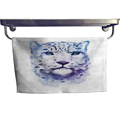 (HoBeauty home Quick-Dry Towels,Wild Cats Themed Print Watercolor Style Leopard Illustration Jungle Wildlife Violet White ,Microfiber Towel W 27.5