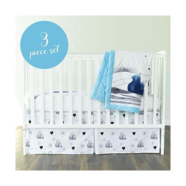 JumpOff Jo Crib Bedding Set, 3 Pieces, Blue Bear