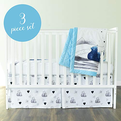 JumpOff Jo - Crib Bedding Set (3 Piece) - Includes Crib Sheet, Crib Skirt, Quilt for Nursery - to The Moon Series: Mama Bear Blue