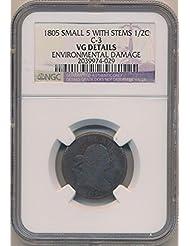 1805 P Draped Half Cent VG Details NGC