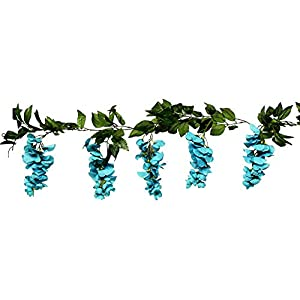 Beautiful Wisteria Garland Turquoise Teal Aqua Silk Wedding Flowers Decoration 6