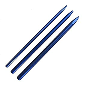 Knotters Tool II (Silver) w/ 3 Different Size Blue Aluminum Lacing Needles by Jig Pro Shop ~ Marlin Spike for Paracord, Leather, & Other Cords (Color: Silver w/ Blue)