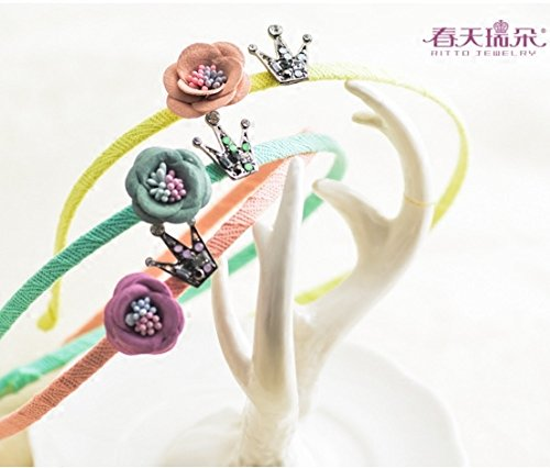 (Generic Swiss spr flower hair band small bronze crown tiara diamond flowers woven wool hair ring elegant cute candy colored hair bands)