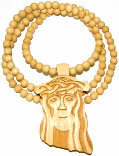 GWOOD Jesus Good Wood Maple Color Replica Pendant With 36 Inch Necklace