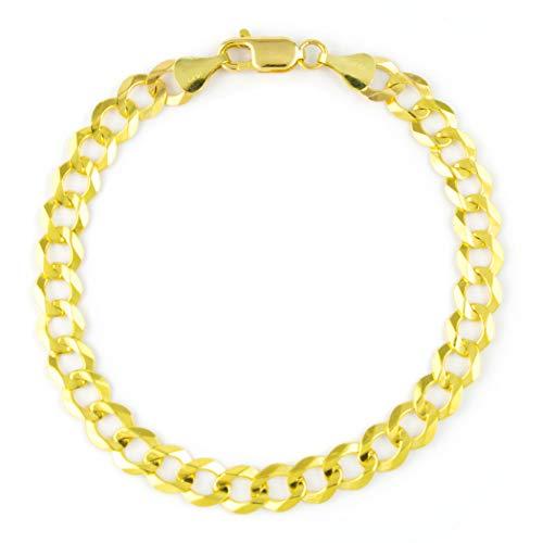 9 Inch Curb Chain Bracelet - Men's 14k Yellow Gold Solid 7mm Cuban Curb Chain Bracelet, 8