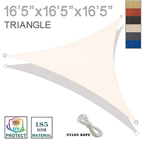 (SUNNY GUARD 16'5'' x 16'5'' x 16'5'' Cream Triangle Sun Shade Sail UV Block for Outdoor Patio Garden)