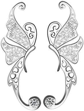 CIShop 925 Sterling Silver Butterfly Diamond Zircon Stud Earrings Ear Cuff Earring 1Pair (hypoallergic)