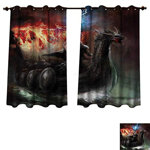 Anzhouqux Fantasy World Blackout Thermal Curtain Panel Lightning Wrath in Viking Thorn Ship Floating in Fiery Waves Odin Narrative Patterned Drape for Glass Door Grey Orange W72 x L84 inch