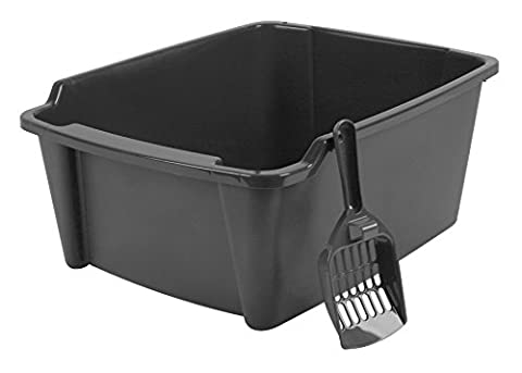 IRIS High Sided Open Litter Pan with Scoop, Dark Gray - Large Cat Litter Pan