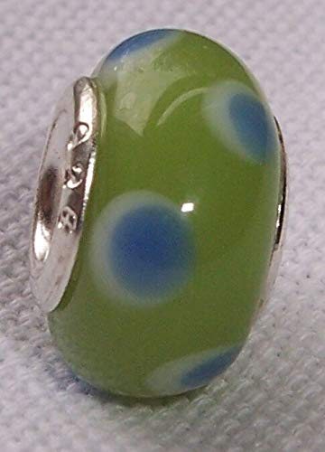 - Green Blue Dot Lampwork Murano Glass European Bead for Silver Charm Bracelets id-2012