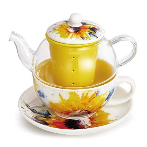 Dean Crouser Sunflower Watercolor Sunshine Yellow 14 ounce Ceramic Stoneware Tea Pot Set