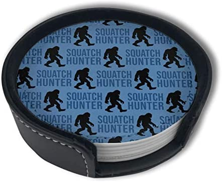 Squatch Hunter Bigfoot Blue Art Funny Home Decor Mark Cup Mat Pu Leather Set Of 6 Dining Table Decorations Round Coasters Gift Ornament Beer Mats Car Coasters