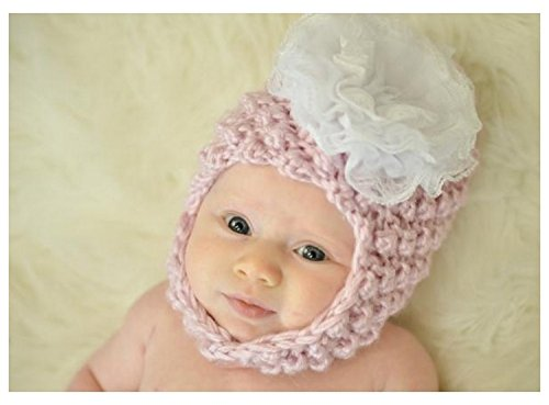 Pale Pink Pretty Pixie Hat with White Lace