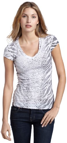 Rock & Republic Women's Sarah Graphic Tee,White Zebra/Leopard/Gunmetal,S