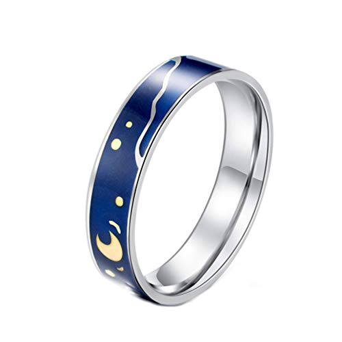 PAURO Couples Women's Stainless Steel Van Gogh's Sky Ring Romantic Promise Band Size 8 ()