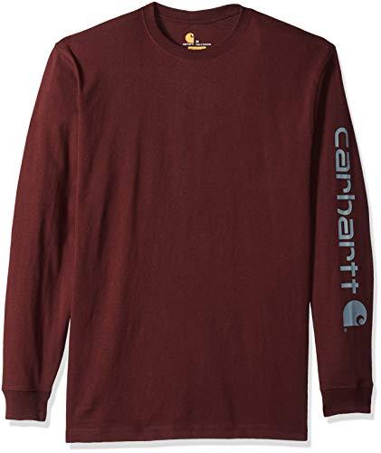 Carhartt Men's Signature Logo Long Sleeve T Shirt K231, Port, Large