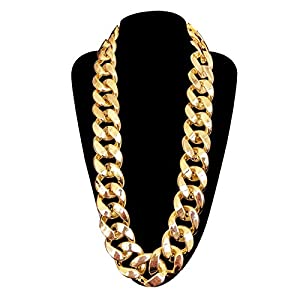 DaNaRaa Men's Chunky Necklace, Rapper Fake Gold Chain 90s Hip Hop Fake Gold Necklace Costume Accessory (27.5 Inches1.37inches)
