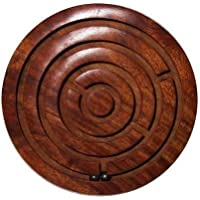 rutvi trader Game Labyrinth, Ball-in-a-Maze Puzzles, Handcrafted in India Chakri Game Plate Kids Toy Hand Made Wooden Gift Item Office Home Stress Buster