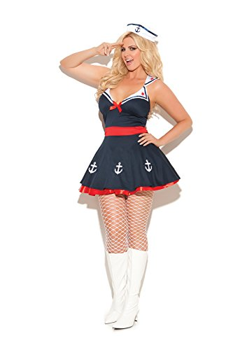 Easy Inexpensive Halloween Costumes For Adults (Womens Sailors Delight Female Sailor Girl Halloween Roleplay Costume 2pc Set (1X/2X, Navy))