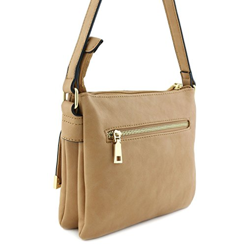 Taupe Crossbody Pocket Compartment Bag Flap Double XxCvgqww