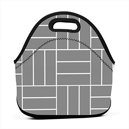 - Uuiuou Basketweave-Tile Portable Outdoor Bento Large Hand Lunch Bag Baby Bag Satchel Tote Gift for Student Worker Travel Mummy