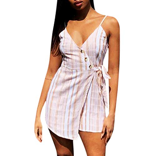 - LONGDAY Women Summer Short Romper Spaghetti Strap Jumpsuit Tank Top Wrap V-Neck Striped Camisole Casual Shorts Belted Pink