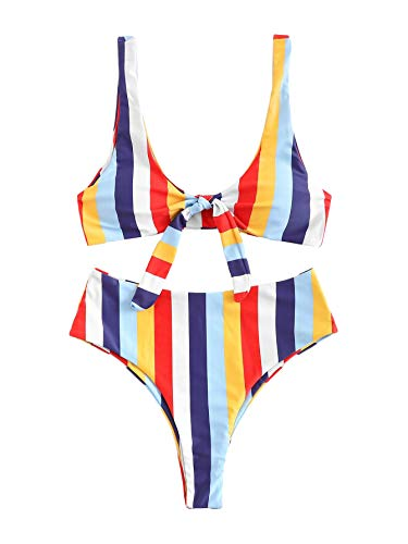(SweatyRocks Women's Bikini Tie Knot Front Striped Color Block Swimsuit Soild Color High Waist Swimwear Set)