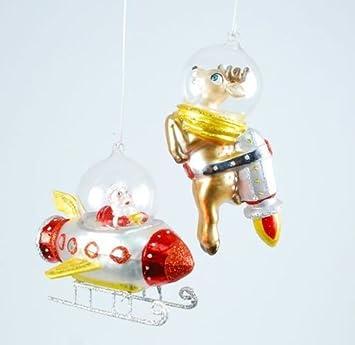 Christmas Space Rocket Reindeer & Santa in Spaceship Glass Ornaments, ... - Amazon.com: Christmas Space Rocket Reindeer & Santa In Spaceship