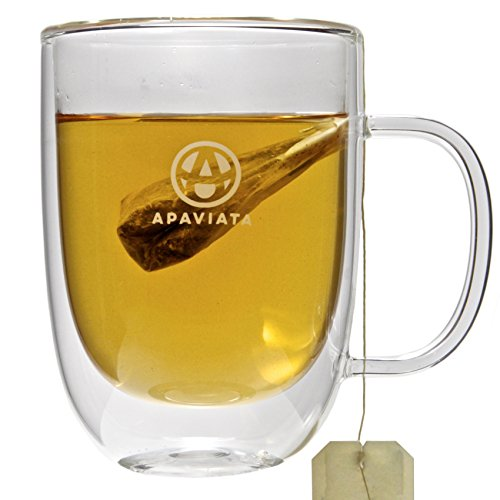 Set of 2 Double Wall Glass Mugs by APAVIATAⓇ Insulated for Hot and Cold Drinks – Premium Borosilicate Glass for Tea, Coffee, and More! (13.5 fl oz / 400ml each)