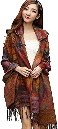 YEESAM Hooded Shawl for Women Blanket Cape Ponchos Coat Tassel Fringe Bohemian Scarf (#1) (Indian Inspired Scarves)