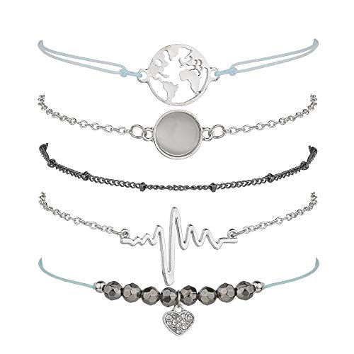 krun Heartbeat Bracelets for Women Girls Adjustable Charm Stretch Stack Strand Bangle Bracelets Set