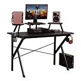 """DlandHome Gaming Computer Desk, 47"""" Gaming Table/Workstation with Display Stand & Speaker Stand & Headphone Holder, YX001-BB Black, 1 Pack"""