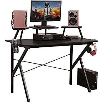huge selection of 3885b 70e99 DlandHome Gaming Desk 47 inches w/Adjustable Display Speaker Stand and  Headphone Gamepad Holder Multifunction Computer Desk/Gaming Table, Walnut  Black ...