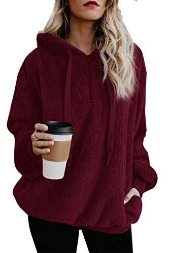ReachMe Women's Oversized Sherpa Pullover Hoodie with Pockets 1/4 Zip Sweatshirt(Burgundy,Large)