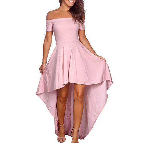- Nadition Women Elegant Off Shoulder Backless Short Sleeve Irregular Dress Fashion Slim Pleat Evening Party Dresses Pink