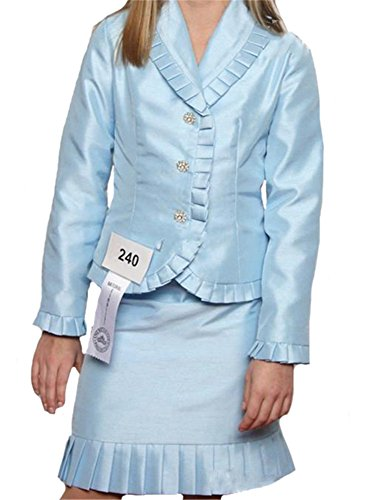 [AVDA Girls' Interview Pageant Suits Ruffles Outfits 6 Blue] (Pageant Suits)