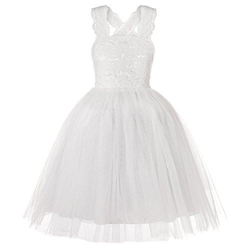 (Molliya Wedding Flower Girl Dress Lace Crossed Back Tulle Fluffy Dress for)