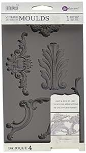 Prima Marketing 814809 Baroque No.4 Iron Orchid Designs Vintage Art Decor Mold, Grey