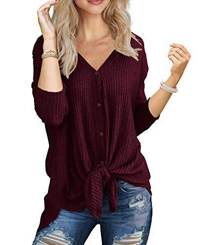 (IWOLLENCE Womens Loose Henley Blouse Bat Wing Long Sleeve Button Down T Shirts Tie Front Knot Tops Wine Red M)