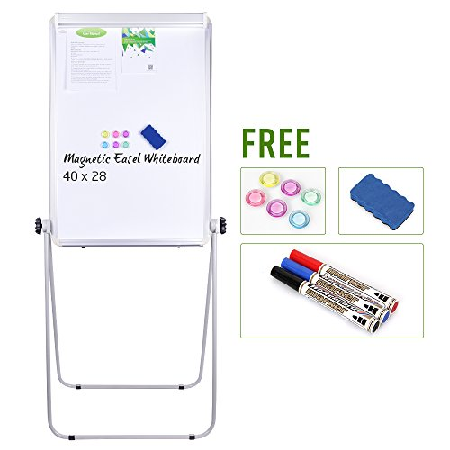 Stand Board - 40x28 inches Magnetic Whiteboard Double Sided Dry Erase Board, Portable Whiteboard / Flipchart Easel, Height Adjustable & 360 Degree Rotating w/ 1 Eraser, 3 Markers, 6 (Outdoor Dry Erase Board)