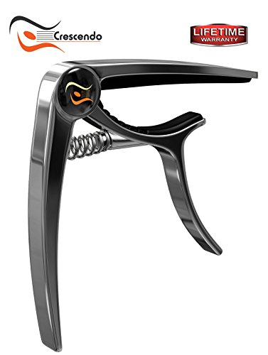 Crescendo Premium Capo with Pouch, Professional Grade for Acoustic & Electric or Folk Guitar, Bass, Ukulele, Banjo and Mandolin, Quick Change Single-Handed, No Fret Buzz,