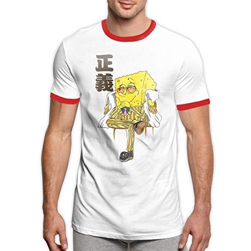 (Customized Funny Marine-Spongebob Crewneck Ringer T-Shirts for)