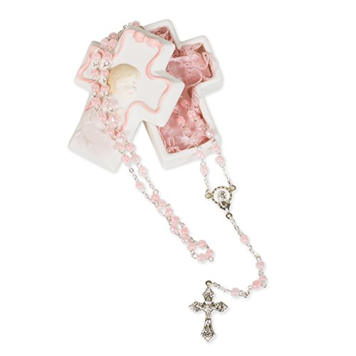 Pink Baby Girl Cross Shaped 3 x 2 inch Porcelain Keepsake Box with Rosary
