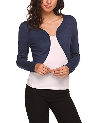 Hotouch Women Basic Long Sleeve Versatile Bolero Shrug Cardigan Junior Navy Blue L (Long Sleeve Cardigan For Juniors)