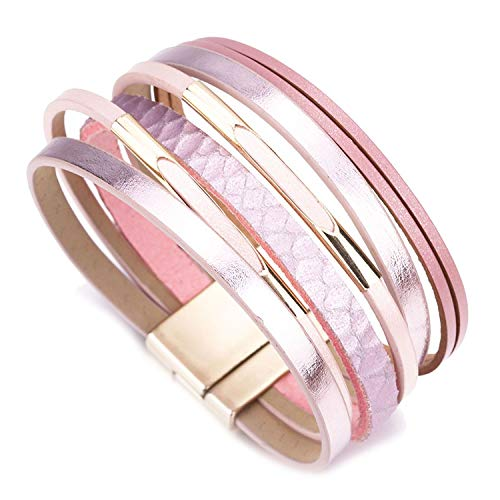 TILLY ANDERSON Bohemian Leather Bracelets for Women Fashion Metal Charm Boho Wrap Multilayer Wide Bracelet Jewelry,Pink