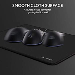 AUKEY Mouse Pad, Gaming Mouse Mat Medium-Size (350 by 250mm) with Smooth Surface, Non-Slip Rubber Base, and Anti-Fraying Stitched Edges