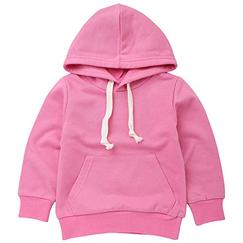 1-6 Years Old Kids Boys Girls Hooded Pullover Sweatshirt Toddler Infant Baby Casual Simple Jumper Pockets Sports Tops Hoodies Outfits (5T, Pink)